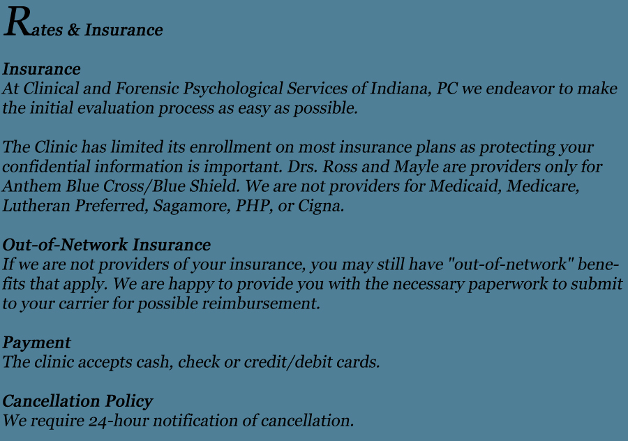 CFPS of Indiana, PC - RATES & INSURANCE
